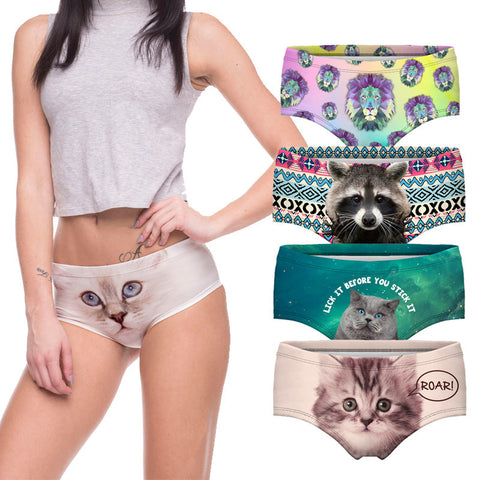 Panties - Sexy Panties With Cat Print. Various Designs