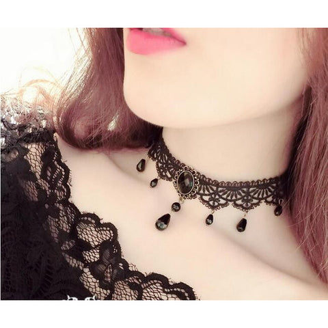 Gothic Black Velvet Choker Necklace with pendants