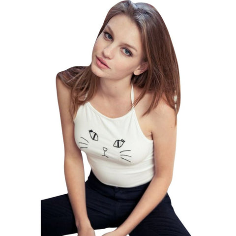 Sexy Cat Face Print Halter Crop Top