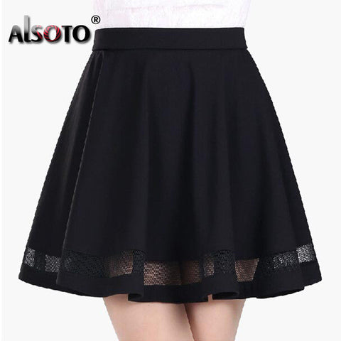 Kawaii A-line skirt with lace mesh design