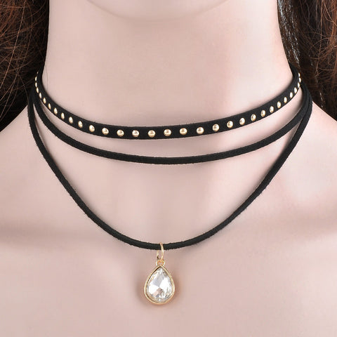 3 Layers Black faux leather Choker