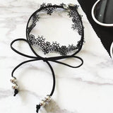 Black Lace Choker with Faux Suede Tie Bow