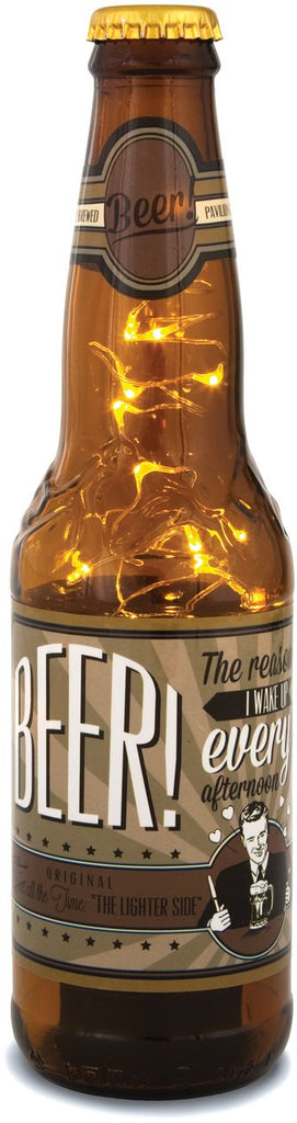 Beer! The Reason I wake up every afternoon! 16oz LED Lit Beer Bottle Lantern Lamp Beer Lantern - Beloved Gift Shop
