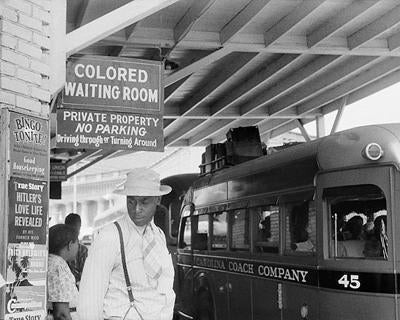 Segregated Bus Stop Durham North Carolina 1940 | McMahan