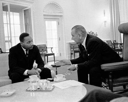 Martin Luther King Jr. and President Lyndon Johnson Oval Office 1963 | McMahan