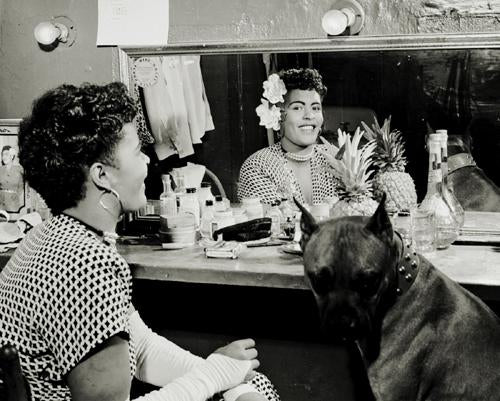 "Billie Holiday in Dressing Room with Her Dog ""Mister"" NYC 1946 