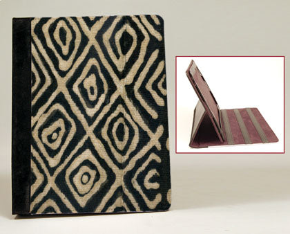 Mudcloth-Black iPad Notebook Case with Stand