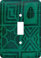 Mud Cloth Green African Cloth Switch Plate Cover