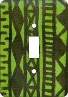 Mud Cloth Lime Green African Cloth Switch Plate Cover