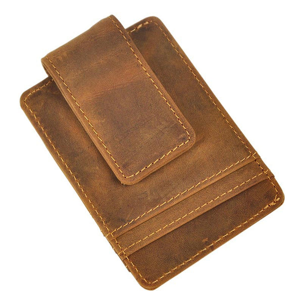 leather men fashion vintage magnetic card holder money clip accessmen store - Magnetic Card Holder