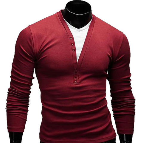 Men Fashion Long Sleeve Slim Fit V-Neck T-Shirt - AccessMEN Store