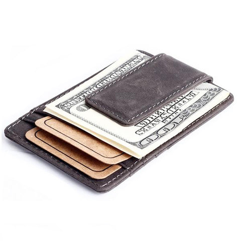 Genuine Leather Men Magnetic Card Holder & Money Clip - AccessMEN Store