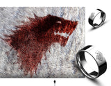 Winter is Coming Stainless Steel Ice Wolf Engraved Ring - AccessMEN Store