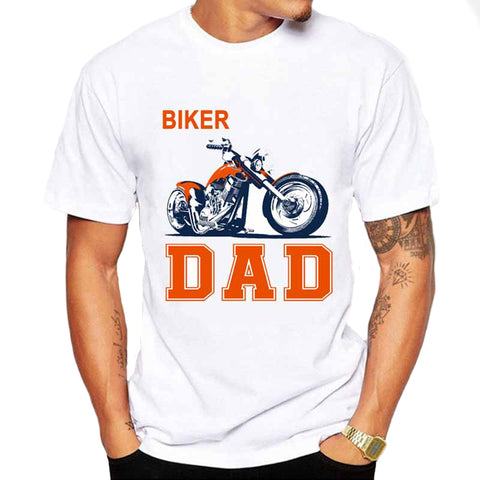 White Biker Dad Motorcycle Theme Short Sleeve T-Shirt - AccessMEN Store