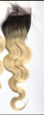 613 Russian Blonde Free Part Lace Closure