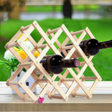 10 Bottle Solid Wood Folding Wine Racks