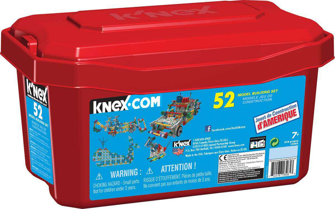 K'NEX 52 Model Building Set (stor kasse med 618 deler)