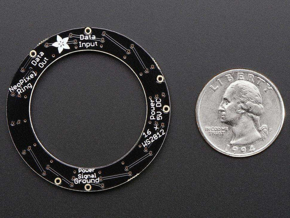 Adafruit NeoPixel Ring - 16 x 5050 RGB LED with Integrated Drivers