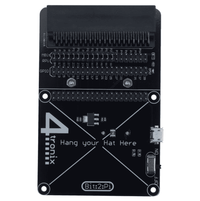 Bit:2:Pi BBC Micro:Bit adaptor for Raspberry Pi HATs (Bit2Pi) ink. batteriholder