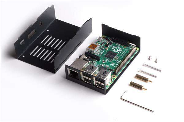 Chassi for Raspberry Pi 3 Model B/Pi Model B+/Pi2 model B, Svart Metall