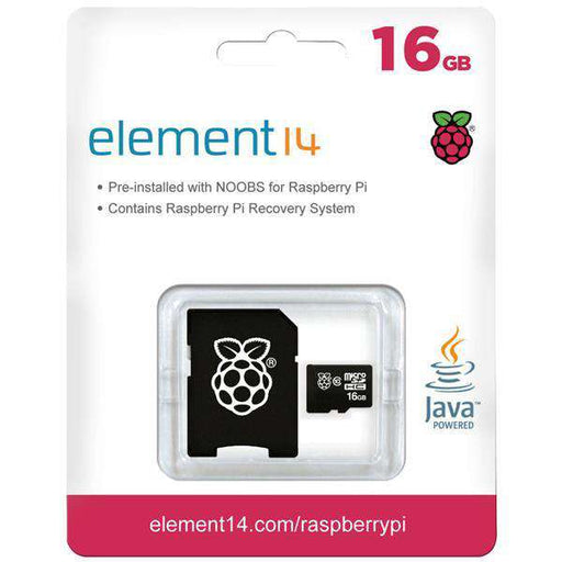 MicroSD Card with NOOBS for Raspberry Pi 16 GB (10 pk ink. adapter)