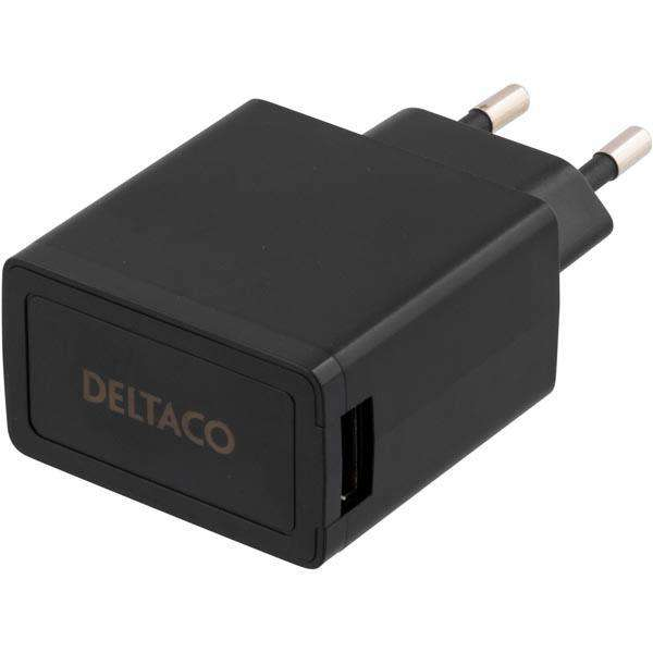 Deltaco Lader 1x USB-port, svart