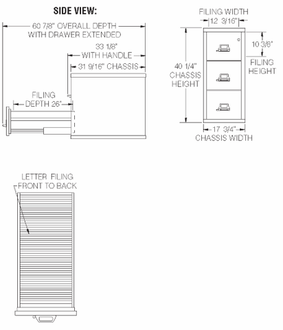 Fire King 3 drawer specification