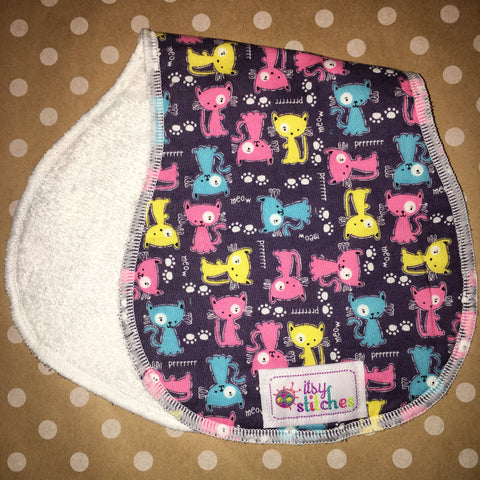 Colorful Kitties Baby Doll Burp Cloth