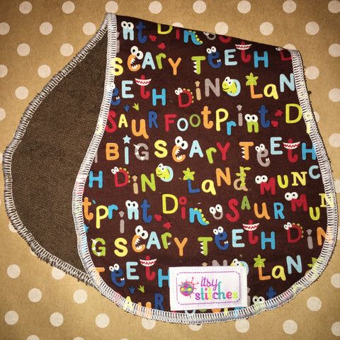 Dino Words Baby Doll Burp Cloth
