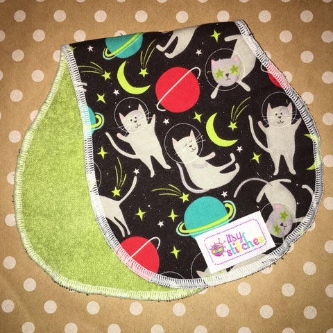 Space Cats Baby Doll Burp Cloth