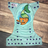 """Purrmaid"" embroidered OS Pocket Diaper + Insert"