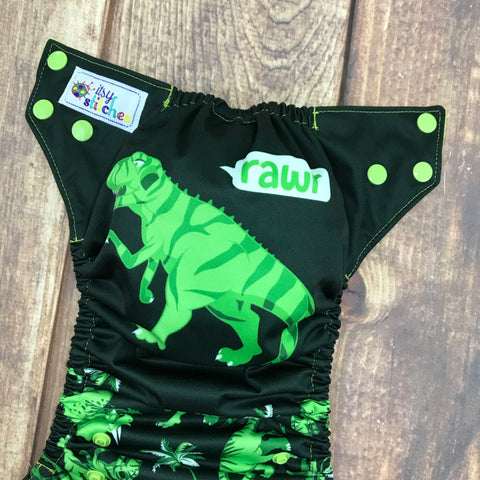 Lime T-Rex Panel OS Pocket Diaper (with insert)