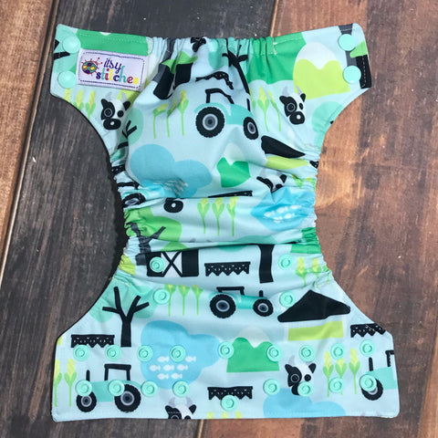 NEWBORN Mint Farm Friends Pocket Diaper