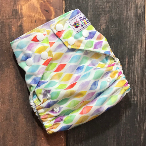 Watercolor Strokes OS Pocket Diaper + Insert