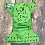 """I'll Eat You Up"" embroidered OS Pocket Diaper + Insert"