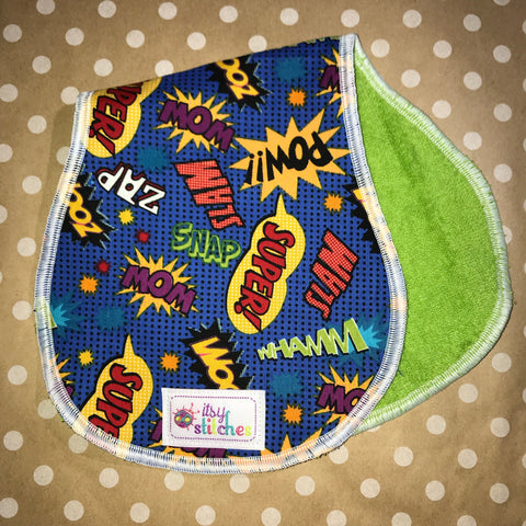 Super Hero Words Baby Doll Burp Cloth