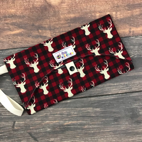 Buffalo Plaid Deer Wipe Clutch