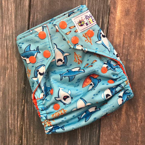 Beachy Sharks OS Pocket Diaper + Insert