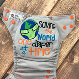 """Saving The World"" embroidered OS Pocket Diaper + Insert"
