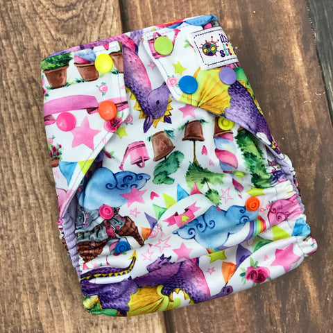 Fantasy Dragons OS Pocket Diaper (with insert)