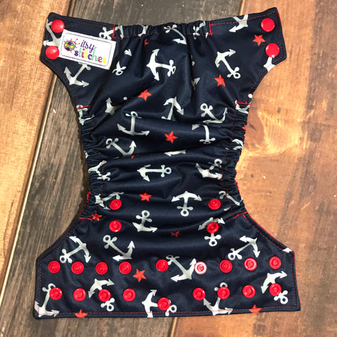 NEWBORN Anchors and Stars Pocket Diaper