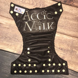 """Accio Milk"" embroidered OS Pocket Diaper + Insert"