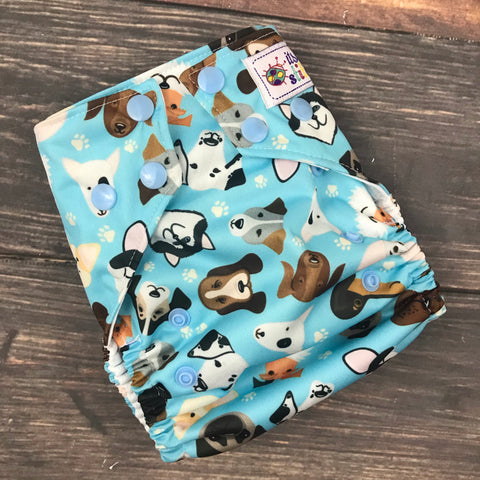 Puppy Faces OS Pocket Diaper + Insert