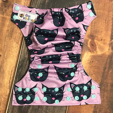 NEWBORN Mystic Kitties Pocket Diaper