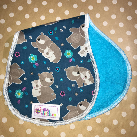 Floral Bear Baby Doll Burp Cloth