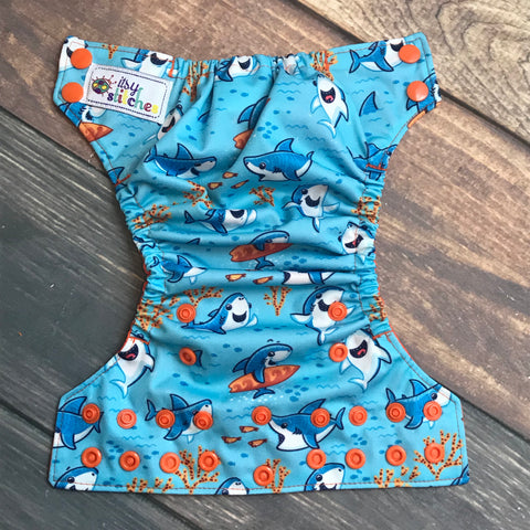 NEWBORN Beachy Sharks Pocket Diaper + Insert
