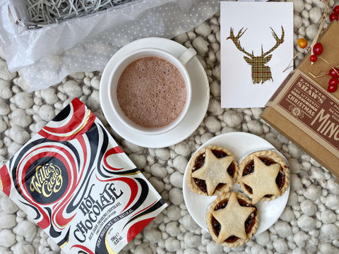 Hot chocolate and mince pies