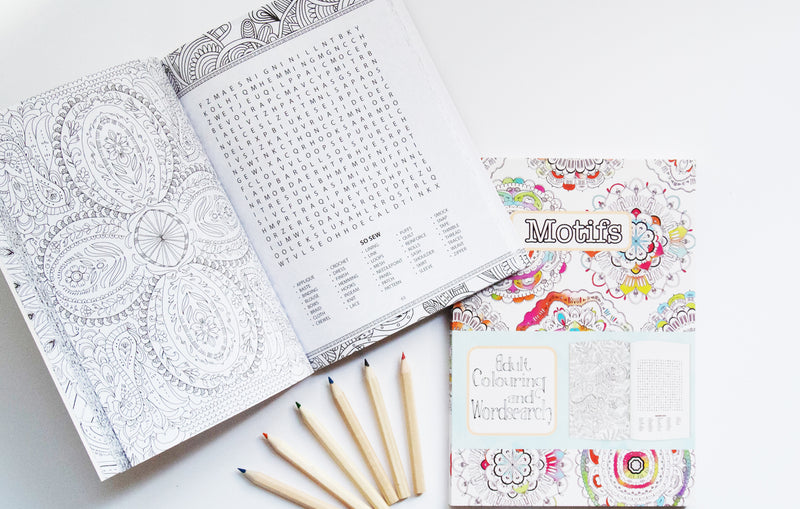 Mindful colouring book & worksearch with pencils