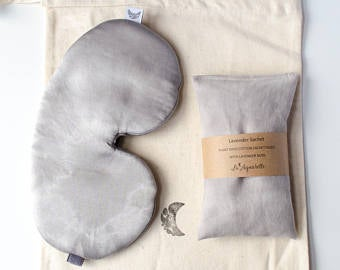 Sleep Mask Set with Lavender Sachet in Charcoal