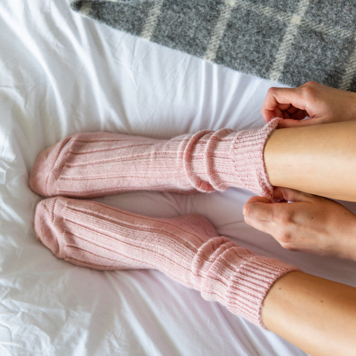 pink alpaca bed/ lounge socks